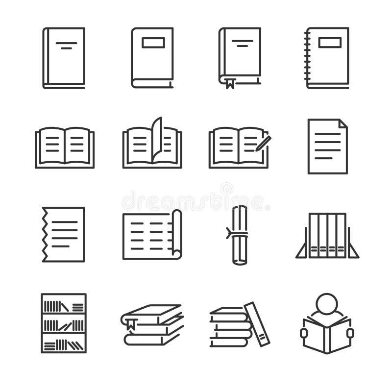 Boklinje symbolsuppsättning Inklusive lär symbolerna som boken, studie, utbildning, papper, dokumentet och mer royaltyfri illustrationer