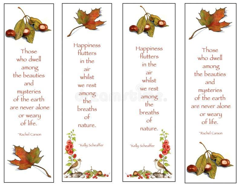 bokmärketeckningar fyra naturcitationstecken stock illustrationer
