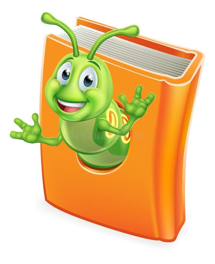 Bokmalen Caterpillar avmaskar i bok vektor illustrationer