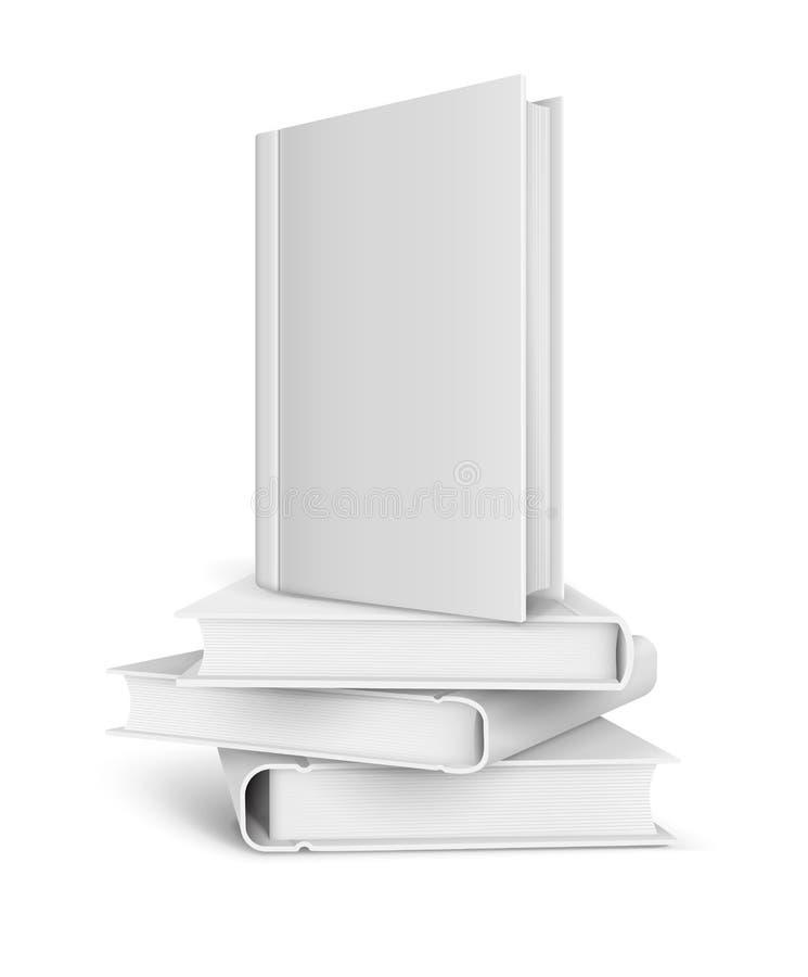 Bokmall med den tomma vita räkningen och högen av böcker royaltyfri illustrationer