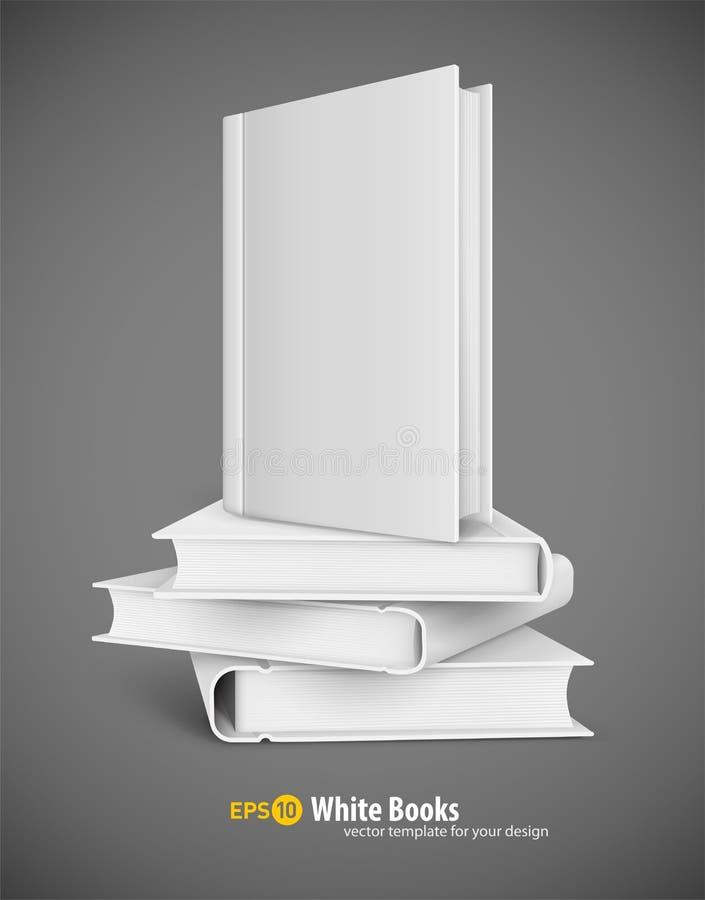 Bokmall med den vita räkningen och högen av böcker stock illustrationer
