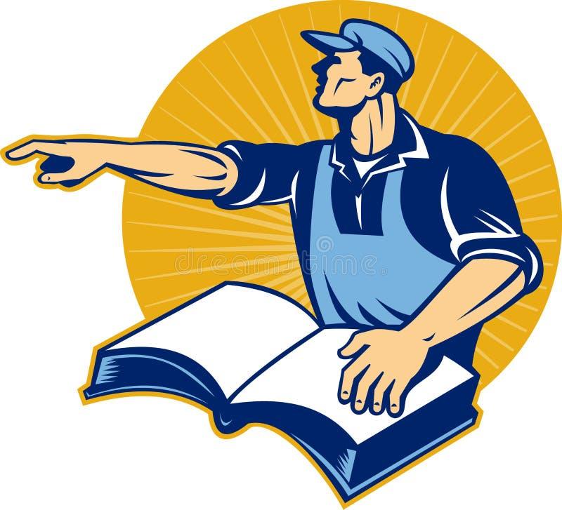 bokman som pekar den lästa detaljhandlarearbetaren stock illustrationer