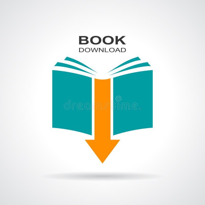 Boknedladdningsymbol stock illustrationer