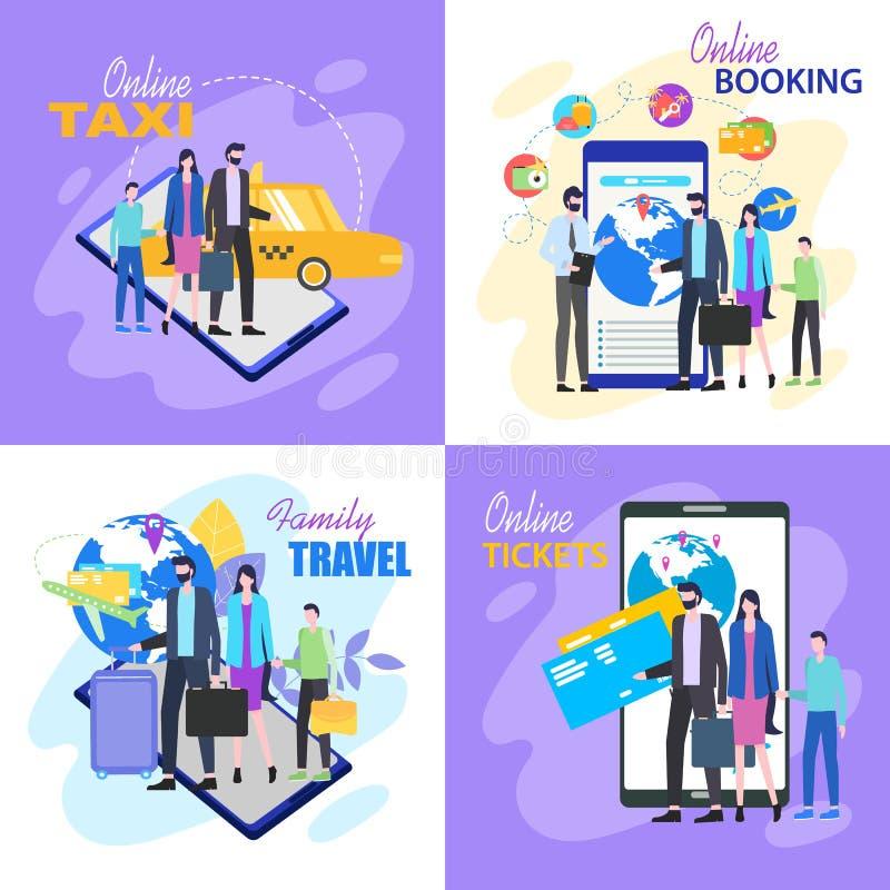 Bokning för hotell för taxi för biljett för familjloppköp online- vektor illustrationer
