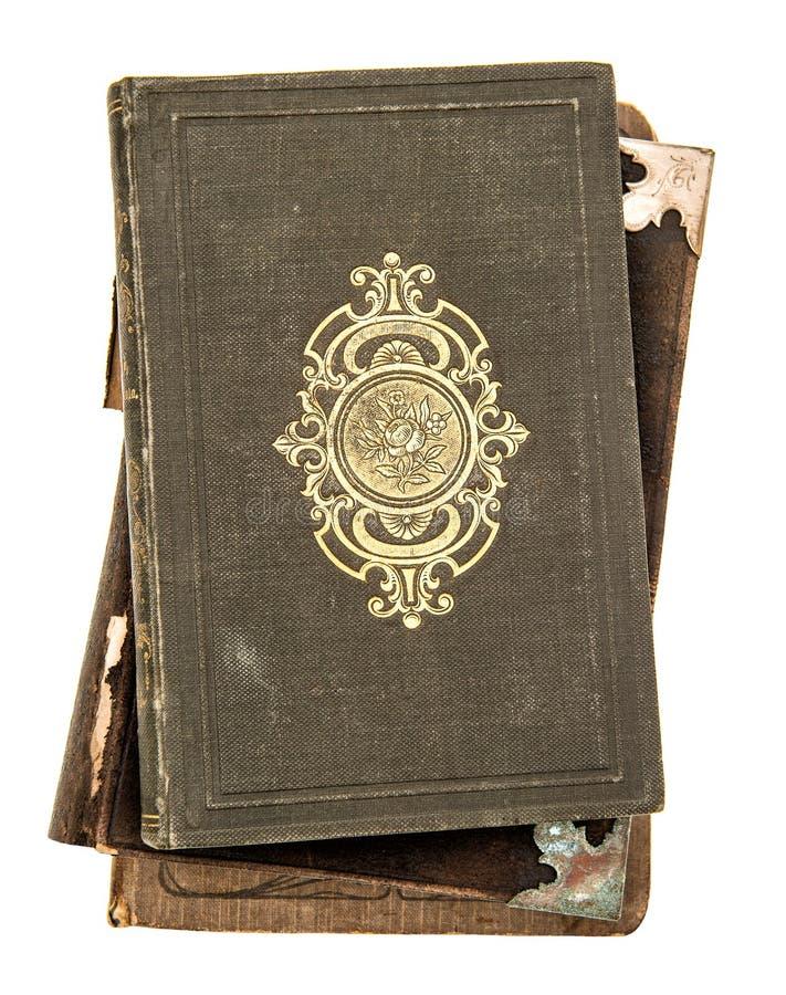 Bokomslag med guld- garnering som isoleras på vit Antik obj arkivbild