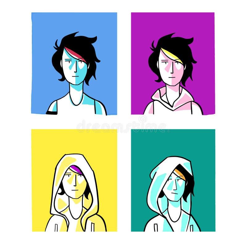 Bokomslagillustration för vykort stock illustrationer