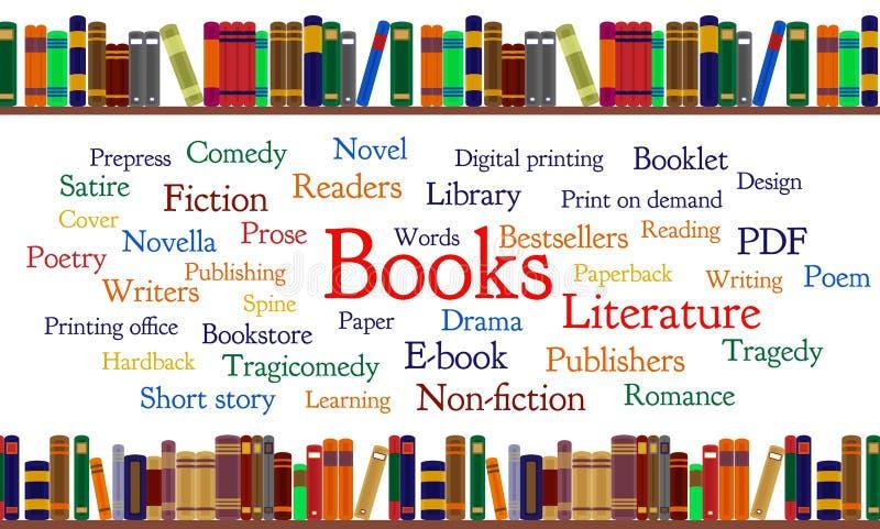 Bokordmoln och böcker på hylla royaltyfri illustrationer