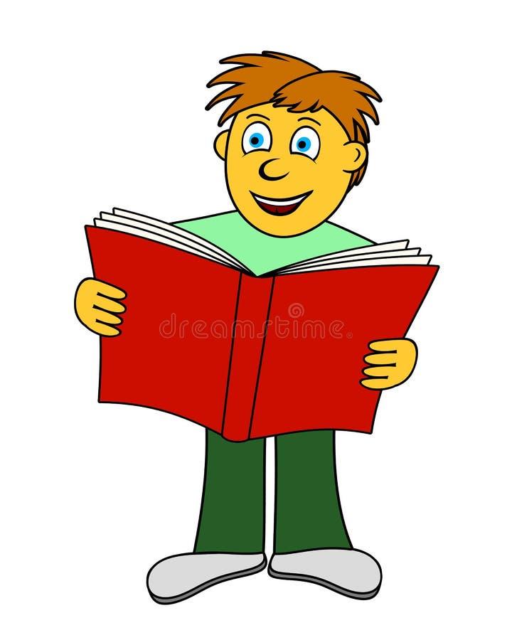 Bokpojken Läser Stock Illustrationer