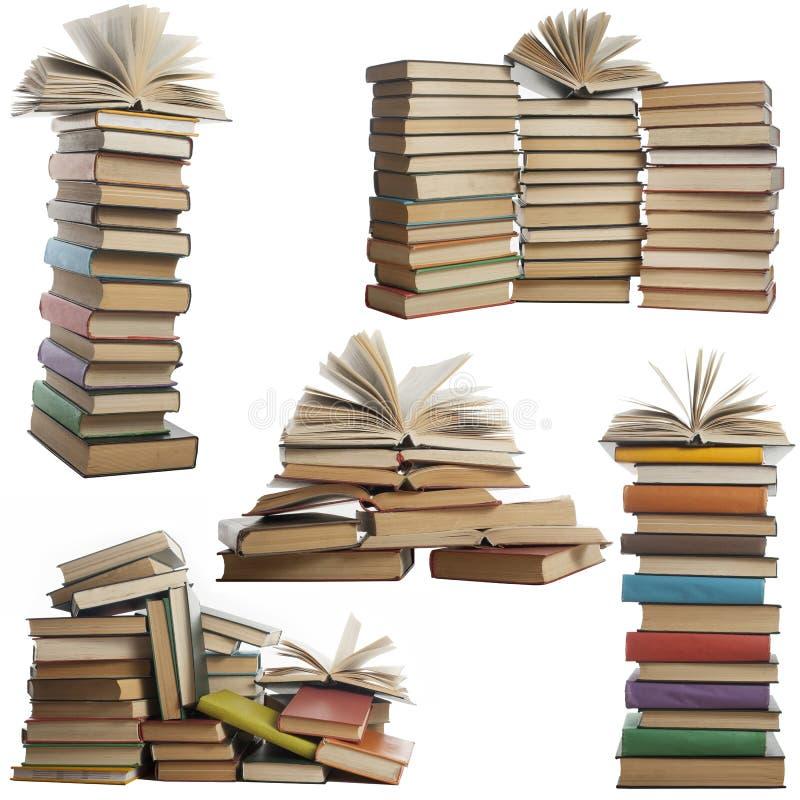 Boksamling som isoleras på vit bakgrund Öppet inbunden bokbok stock illustrationer