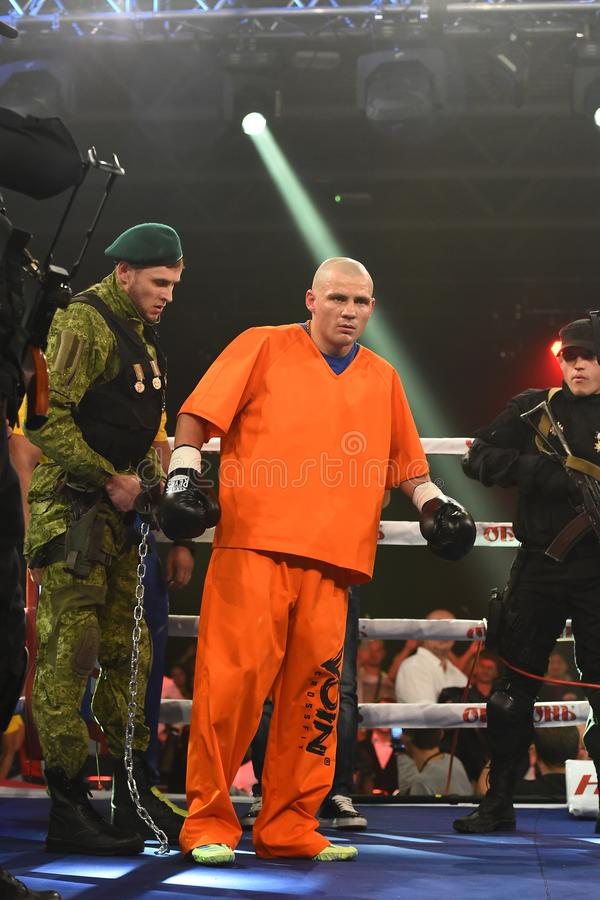 Bokser Denys Berinchyk in de ring stock foto