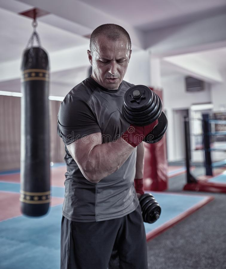 Bokser opleiding met gewichten royalty-vrije stock foto