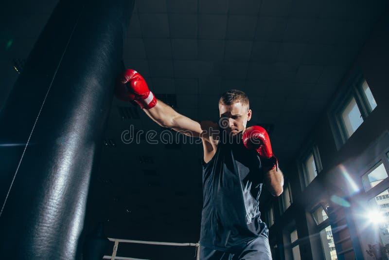 Bokser opleiding op een ponsenzak in de gymnastiek stock foto