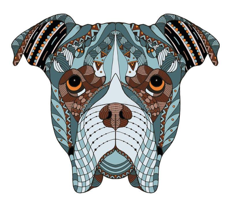 Bokser psiej głowy zentangle stylizował, wektor, ilustracja, freehan royalty ilustracja