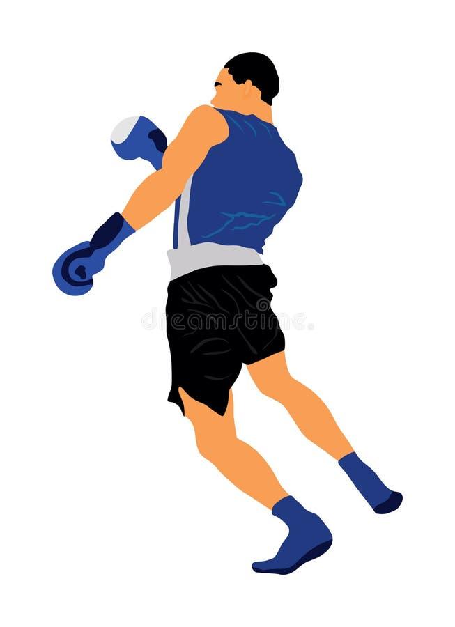 Bokser in rings vectordieillustratie op witte achtergrond wordt geïsoleerd Sterke vechter Directe schop Sportman bij de opleiding royalty-vrije illustratie