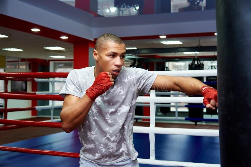 Bokser uderza ogromną uderza pięścią torbę przy bokserskim studiiem Bokser trenuje mocno obrazy royalty free