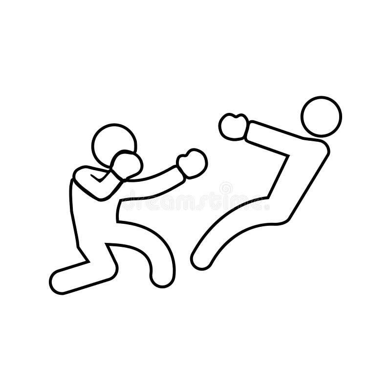 boksera knockdown ikona Element walka dla mobilnego pojęcia i sieci apps ikony Cienka kreskowa ikona dla strona internetowa rozwo royalty ilustracja