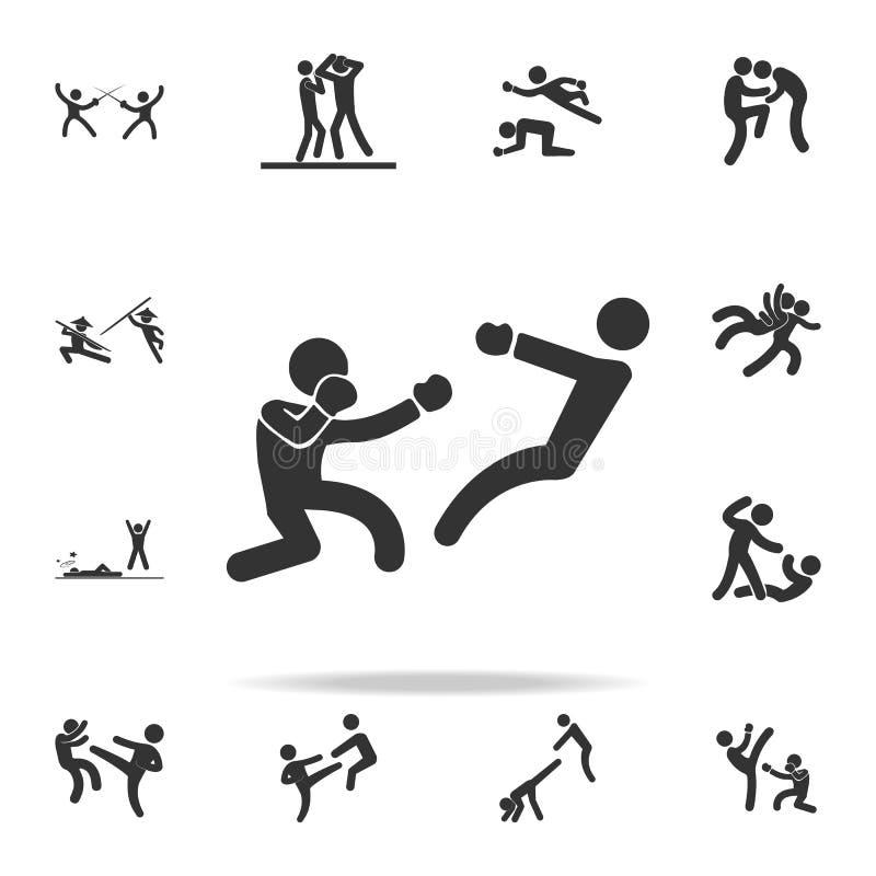boksera knockdown ikona Set Cfight i sparingowe element ikony Premii ilości graficzny projekt Znaki i symbol kolekci ikona royalty ilustracja