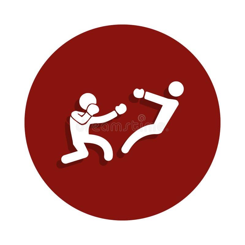 boksera knockdown ikona w odznaka stylu Jeden walki inkasowa ikona może używać dla UI, UX royalty ilustracja
