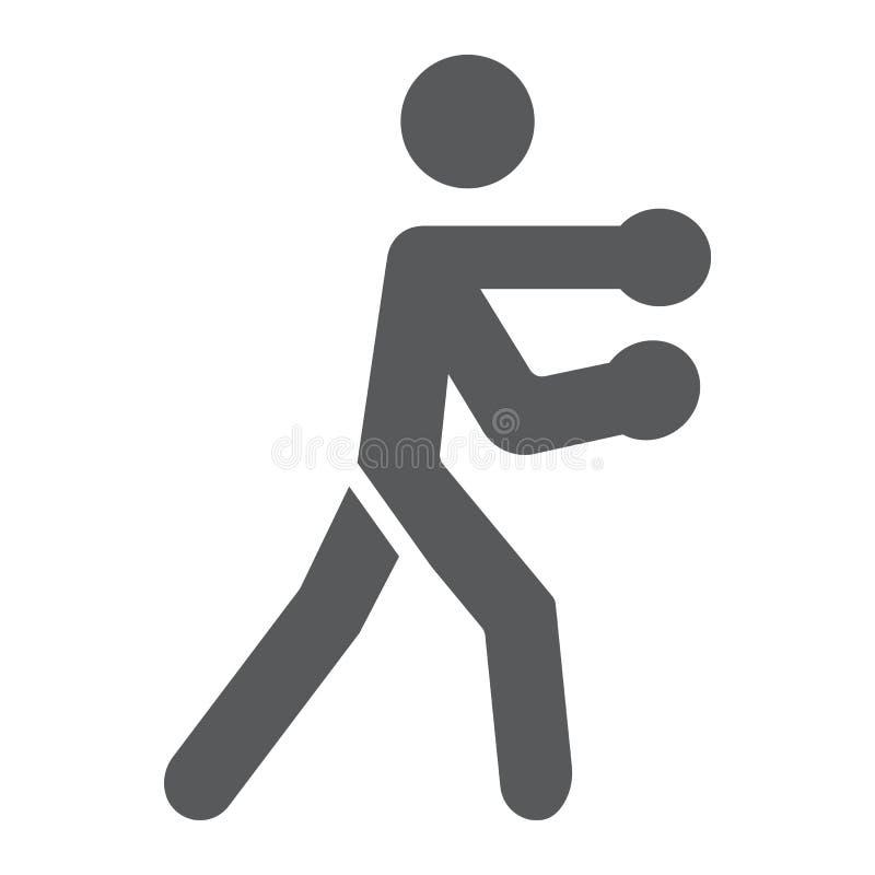 Bokserska glif ikona, bokser i poncz boksuje sporta znaka, wektorowe grafika, bryła wzór na białym tle royalty ilustracja