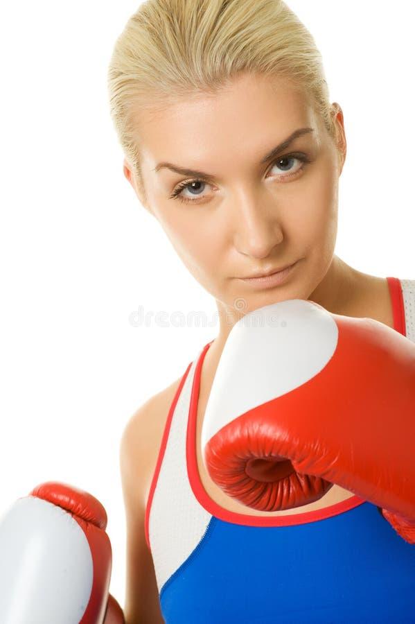 bokserska rękawiczek czerwieni kobieta fotografia stock