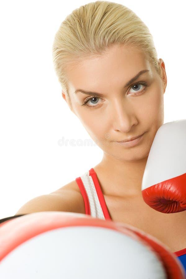 bokserska rękawiczek czerwieni kobieta fotografia royalty free