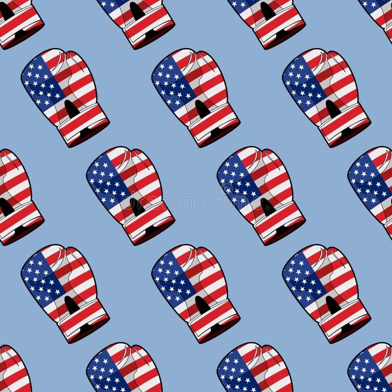 Bokserska rękawiczka z flaga Ameryka bezszwowy wzór Sporty acces ilustracja wektor