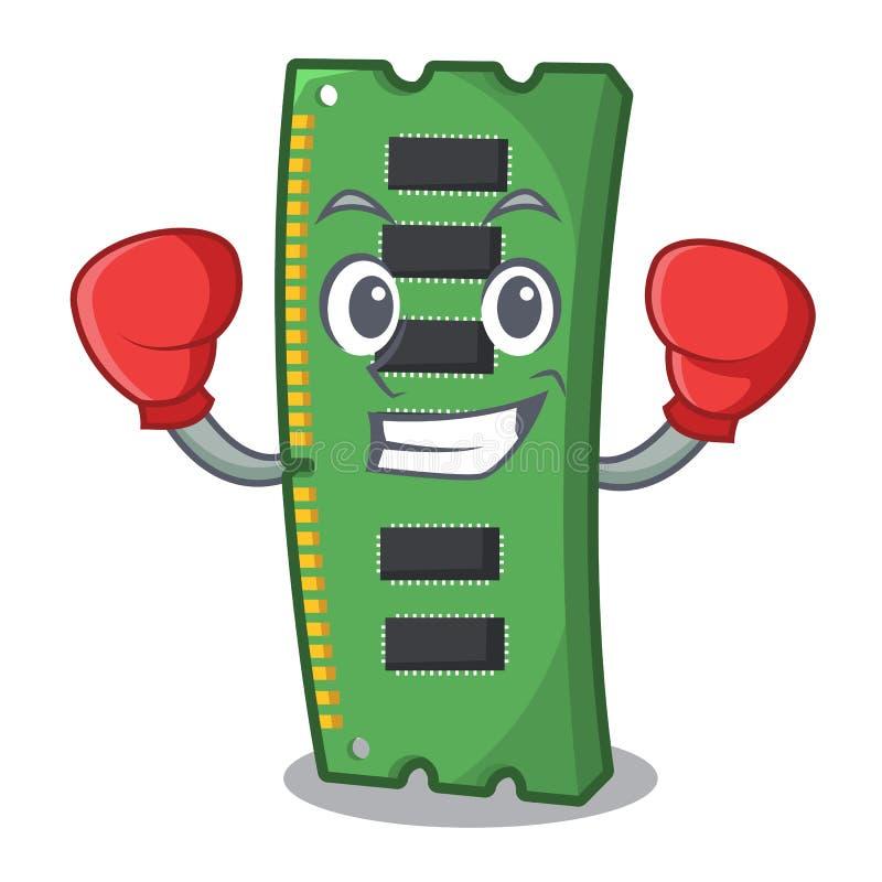 Bokserska RAM karta pamięci odizolowywająca w kreskówce royalty ilustracja
