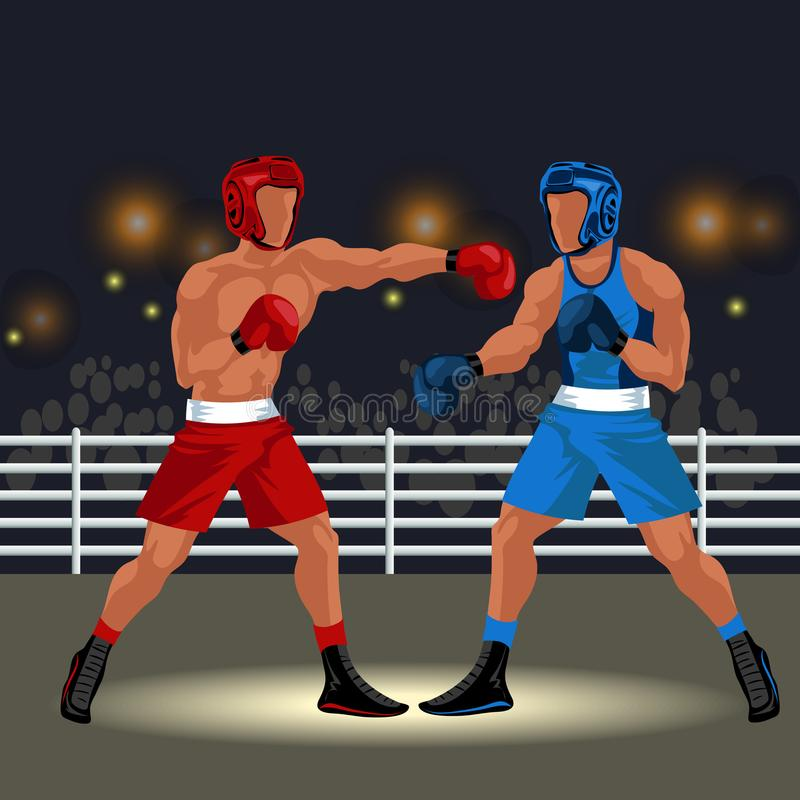 Bokserski dopasowanie w ringowym płaskim plakacie Fachowi boksery w sportswear i wyposażeniu ma batalistycznego okularowego wydar ilustracji