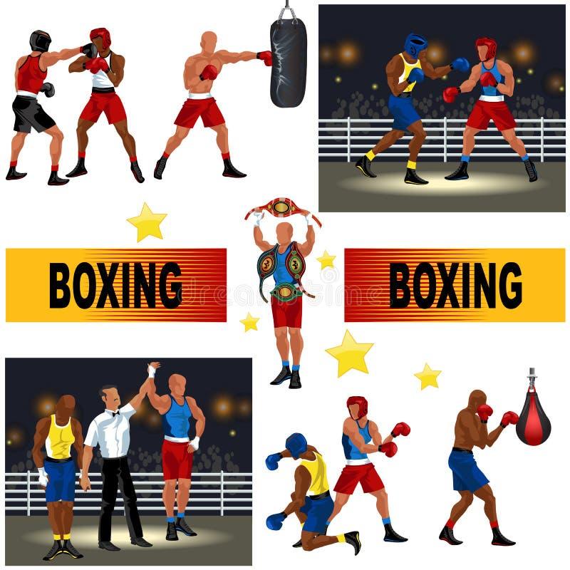 Bokserski kolorowy set składał się bokserów walczy w ringowym mężczyzna z uderzać pięścią torba arbitra ogłasza zwycięstwo profes ilustracja wektor