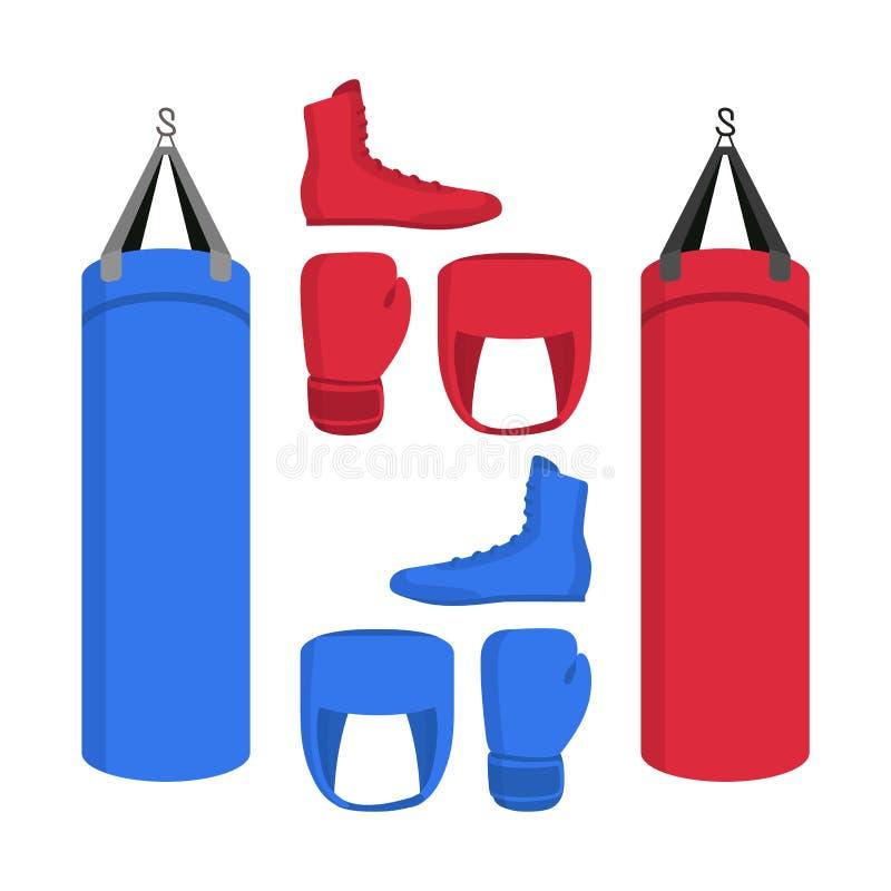 Bokserski wyposażenie ustawiający ikony odizolowywać Sport kolekcje bokserów buty, uderza pięścią torbę, rękawiczki w, czerwonym  ilustracji