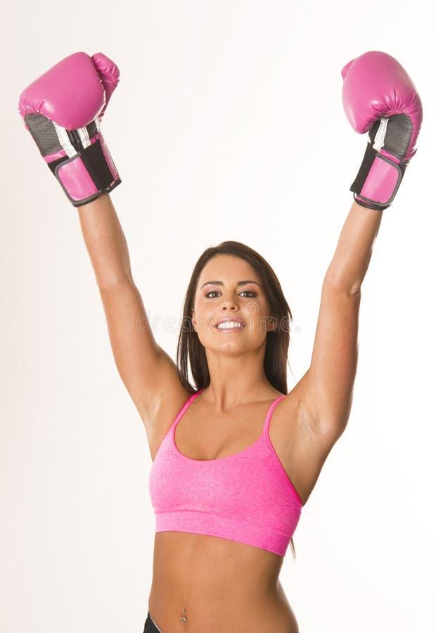bokserskich rękawiczek różowa kobieta fotografia stock