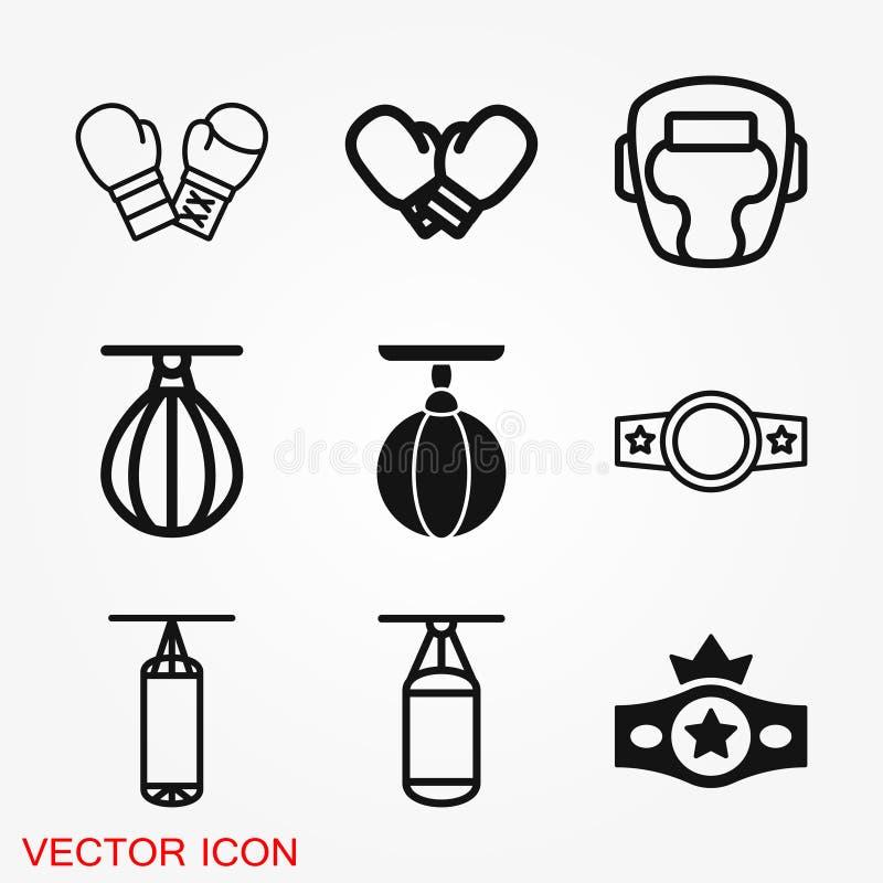 Bokserskie ikony, wyposażenia i sporta wektorowe grafika, symbol na tle ilustracja wektor