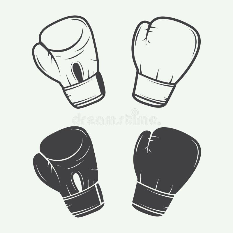 Bokserskie rękawiczki w rocznika stylu royalty ilustracja