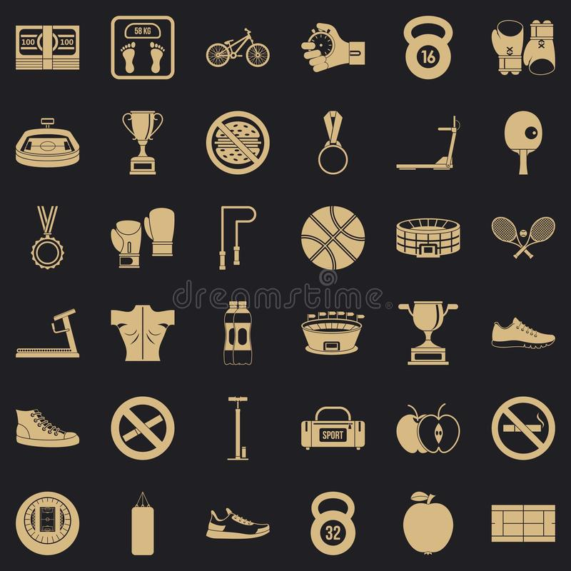 Bokserskie toreb ikony ustawiać, prosty styl ilustracji