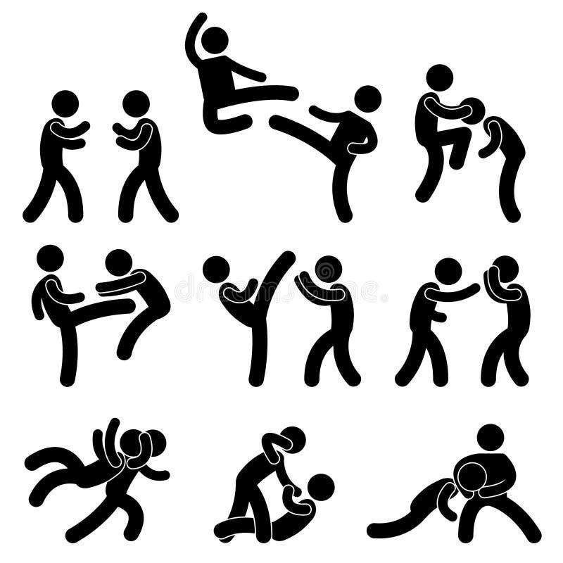 bokserskiego myśliwskiego karate muay tajlandzki ilustracji