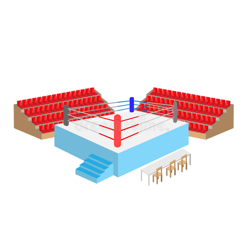 Bokserskiego pierścionku arena z pustymi siedzeniami ilustracja wektor