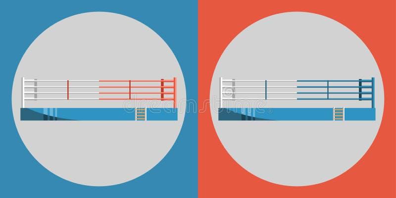Bokserskiego pierścionku ikona Barwi arenę sportowa na błękitnym i czerwonym tle ilustracja wektor