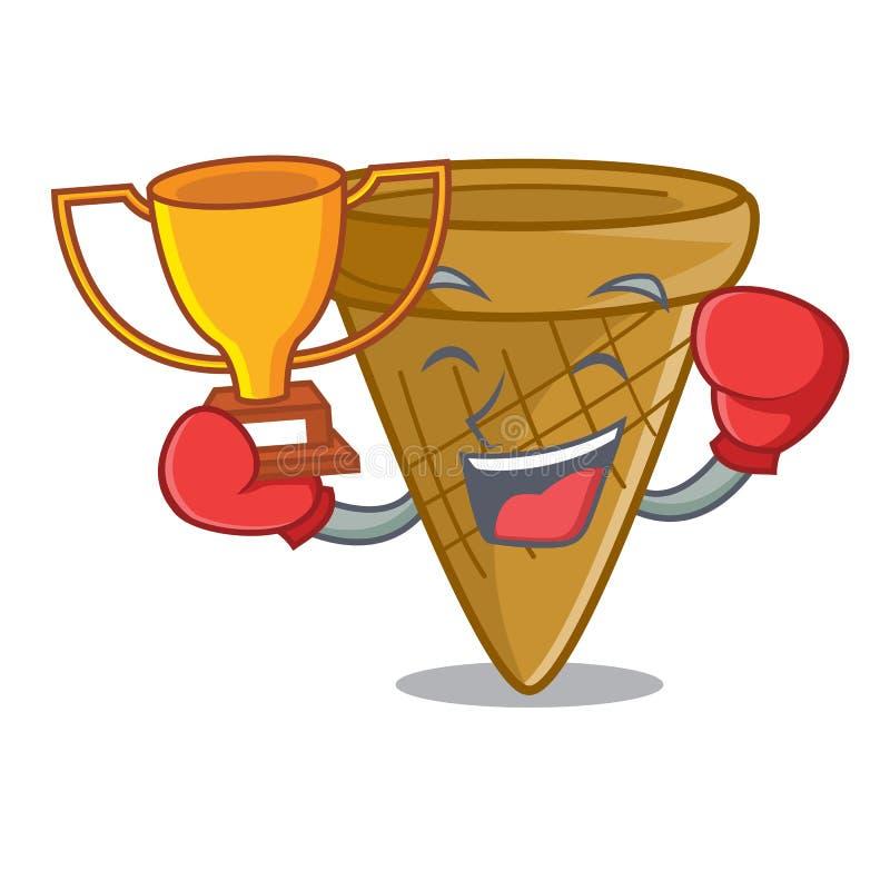 Bokserskiego zwycięzcy opłatka słodki rożek odizolowywający na maskot ilustracji