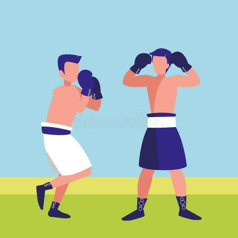 Boksery walczy avatars charaktery ilustracja wektor