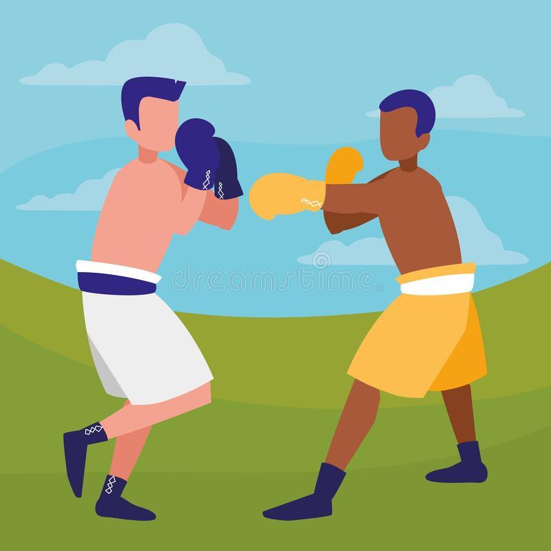 Boksery walczy avatars charaktery ilustracji