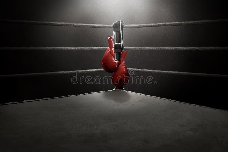 Bokshandschoenen die op de ring hangen stock afbeeldingen