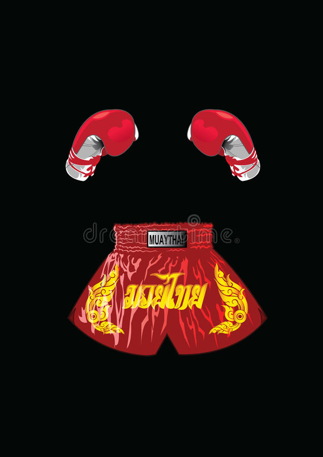 Bokshandschoenen en Thaise bokserborrels royalty-vrije illustratie