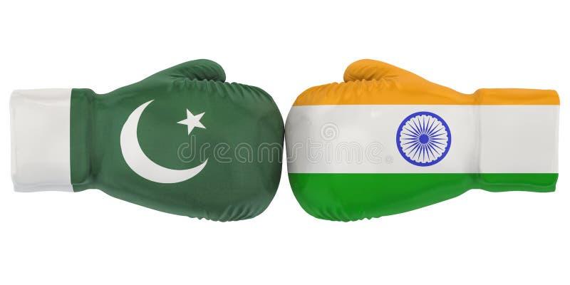 Bokshandschoenen met de vlaggen van India en van Pakistan Het concept van het politieke of oorlogsconflict, het 3D teruggeven stock illustratie