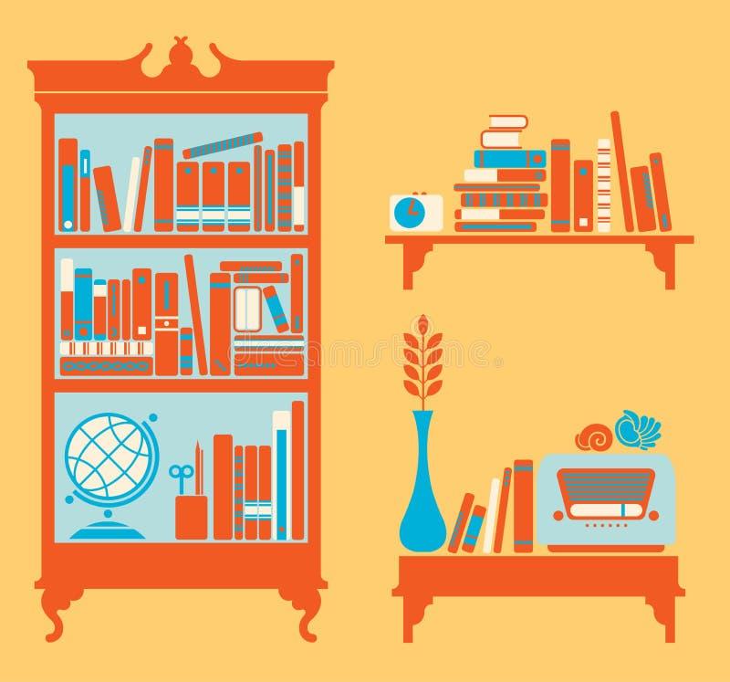 Bokshelfs stock illustrationer