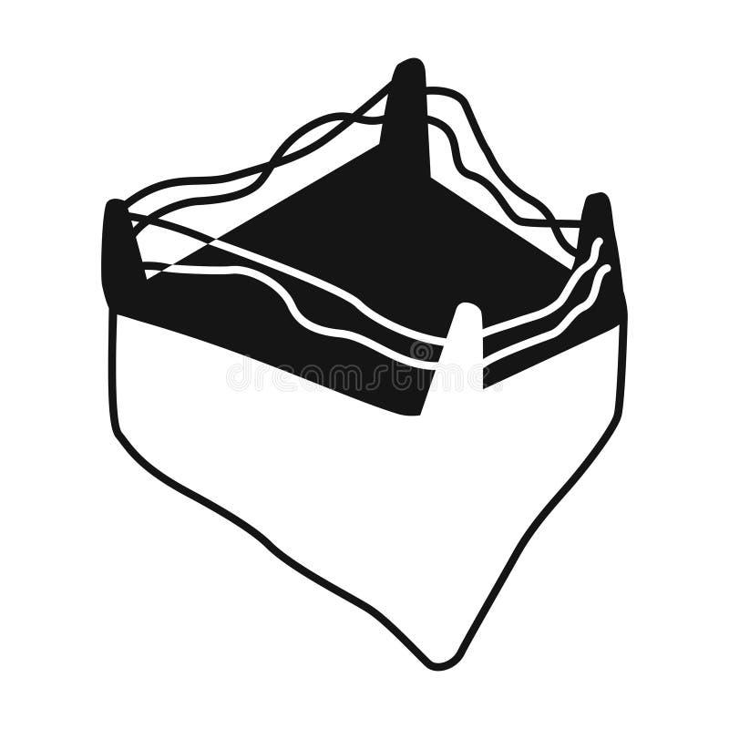 Boksringspictogram in zwarte die stijl op witte achtergrond wordt geïsoleerd In dozen doend Symbool vector illustratie