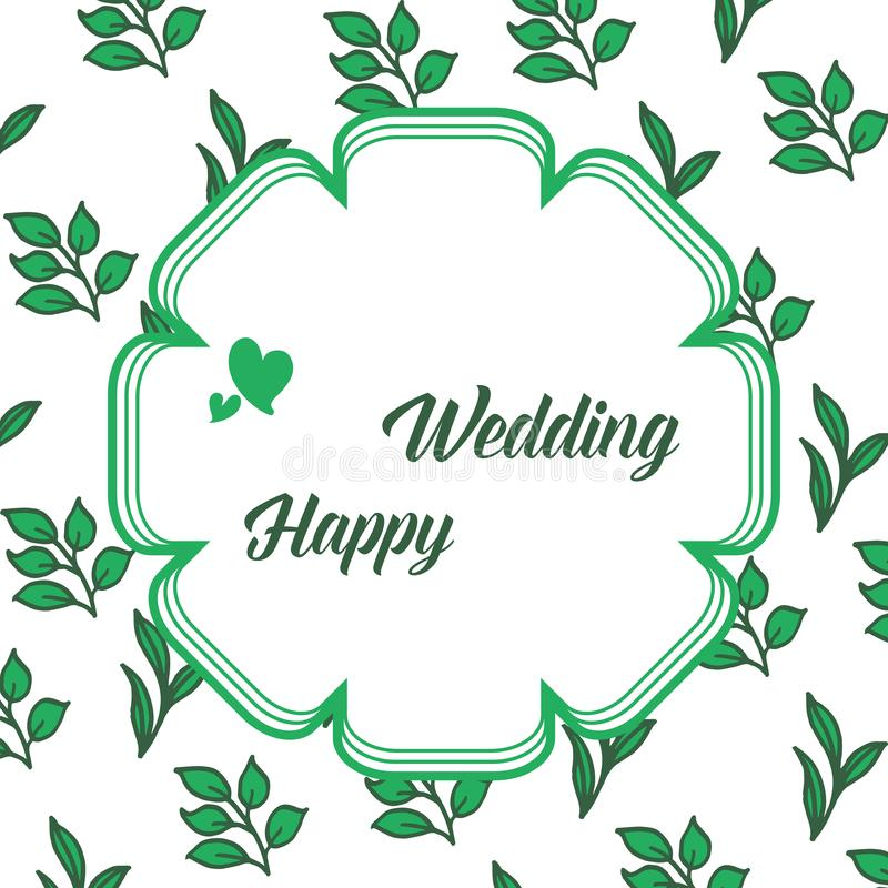 Bokstäver av lyckligt bröllop, inbjudantappningkort, form av den gulliga ramen och olika färgblommor vektor royaltyfri illustrationer