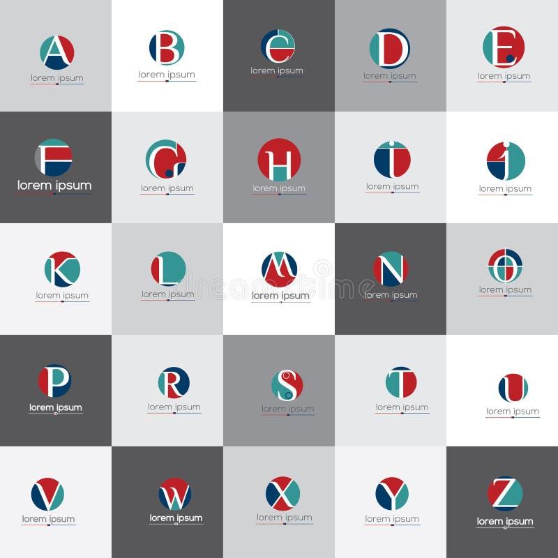 Bokstäver av uppsättningen för alfabetvektorlogo royaltyfri illustrationer