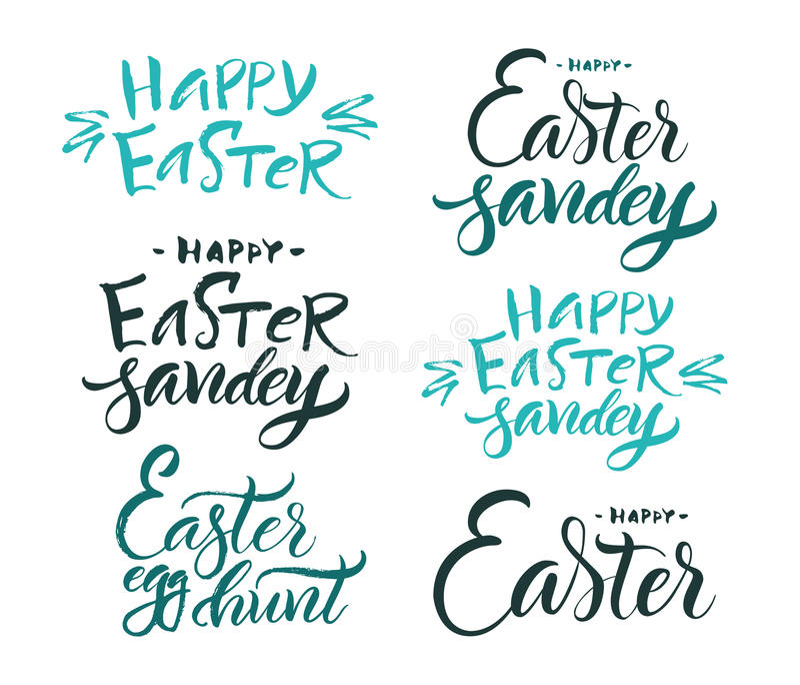 bokstäver Borstekalligrafi stock illustrationer