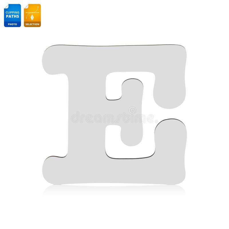 Bokstäver E gjorde från isolerat trämaterial på vit bakgrund Tom tr?stilsort f?r din design r royaltyfria bilder
