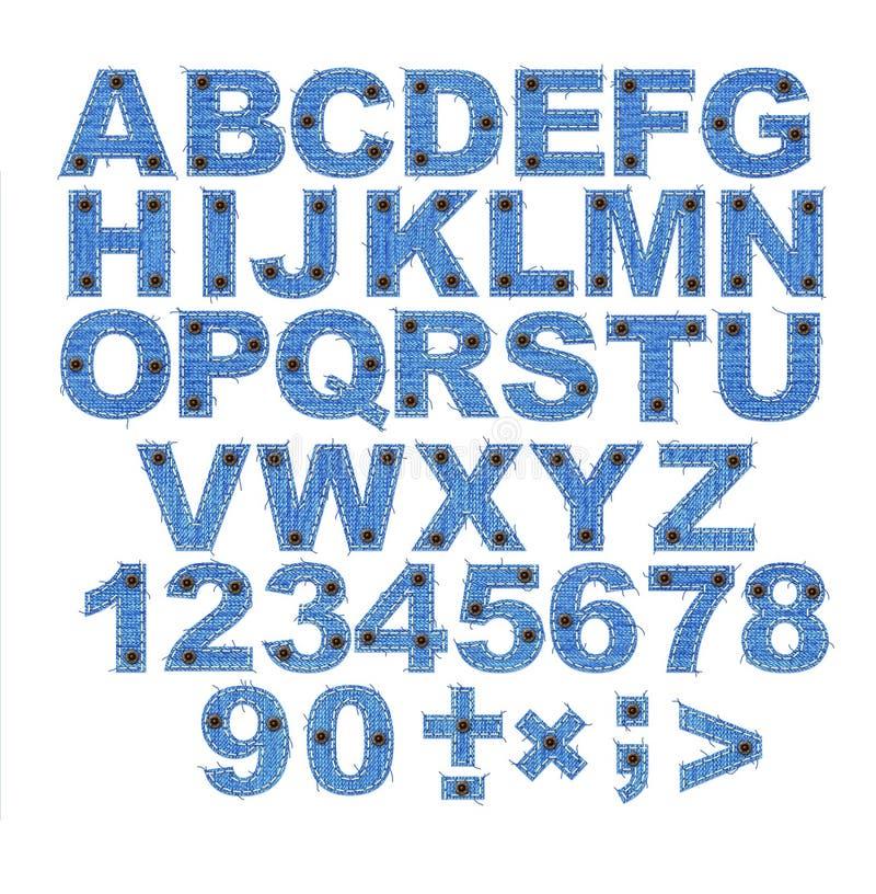 bokstäver för alfabettygjeans royaltyfri illustrationer